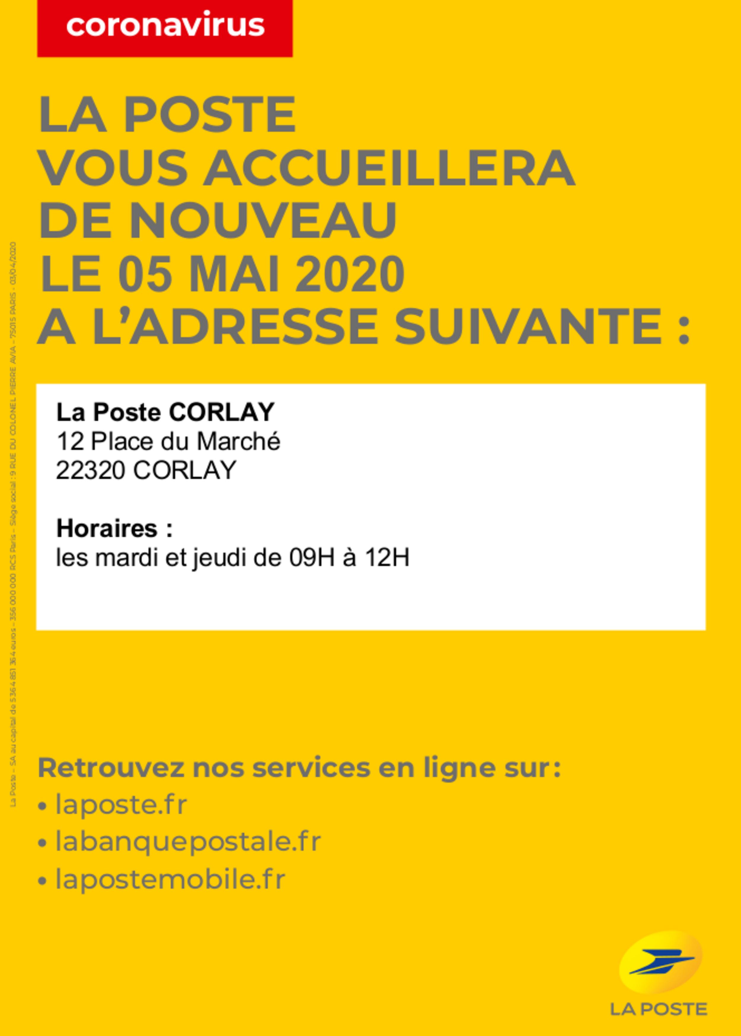 Réouverture de la Poste de Corlay le 5 Mai